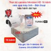 TRỌN BỘ CAMERA 16 KÊNH GIÁM SÁT CHẤT LƯỢNG CAO HIKVISION HD 1.0