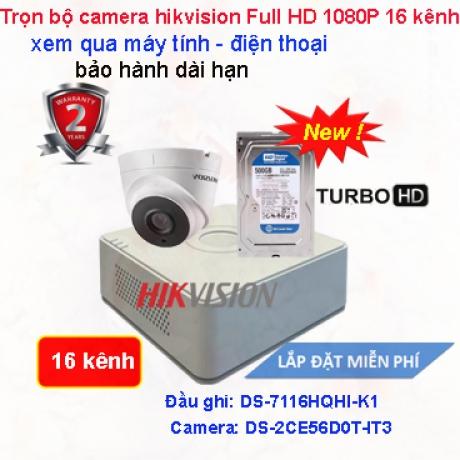 TRỌN BỘ CAMERA QUAN SÁT 16 KÊNH HIKVISION Full HD 1080P CAO CẤP