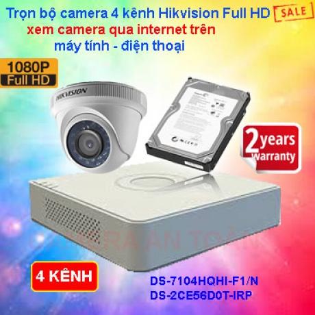 Trọn bộ camera giám sát 4 kênh chất lượng cao Hikvision Full HD 2.0
