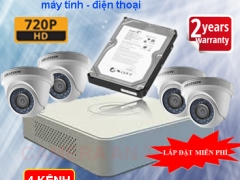 Trọn bộ camera giám sát 4 kênh chất lượng cao Hikvision HD 1.0
