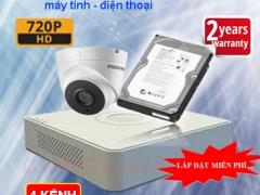 TRỌN BỘ CAMERA 4 KÊNH HIKVISION HD 720P CAO CẤP