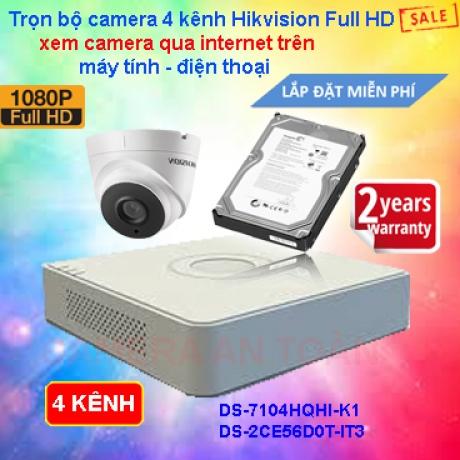 Bộ camera giám sát 4 kênh chất lượng cao Hikvision Full HD 1080P