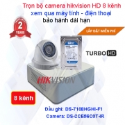 Bộ camera giám sát 8 kênh chất lượng cao Hikvision HD 720P