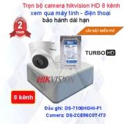Trọn bộ camera quan sát 8 kênh Hikvision HD 720P cao cấp