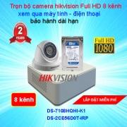 LẮP TRỌN BỘ CAMERA 8 KÊNH GIÁM SÁT CHẤT LƯỢNG CAO HIKVISION Full HD 2.0
